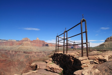 plateau point: Plateau Point guard fence on the Tonto Plateau in the Grand Canyon National Park with nobody