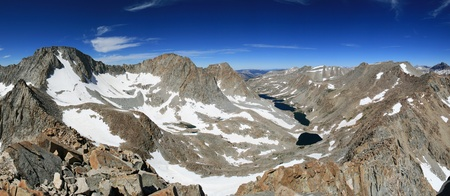 Panorama of the Darwin Basin in the Sierra Nevada mountains including Mount Darwin Mount Mendel and lamarck peak