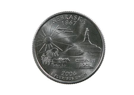 pluribus: Nebraska state quarter coin isolated on white background