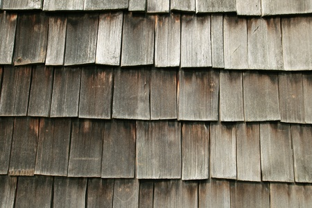 horizontal image of gray wooden shake roof for background texture photo