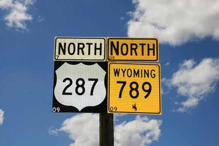 wyoming 789 north and 287 north road signs with sky background Stock Photo - 11731428