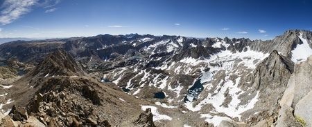 High Sierra Panorama from Mount Tom Ross including Blue heaven Lake and Mount Darwin Stock Photo - 11731453