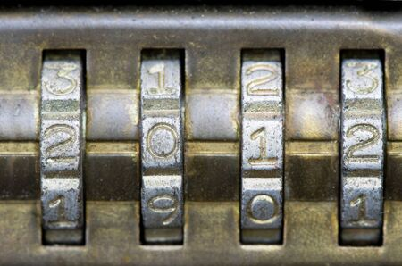 brass combination lock with the number set to 2012 Stock Photo - 11906302