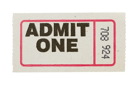 gray admit one ticket with red line and number isolated on white background Stock Photo - 11906301