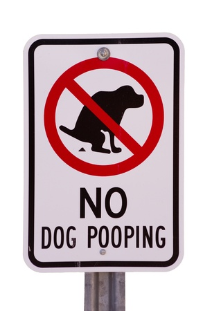 no dog pooping sign isolated on white background Stock Photo - 12379994