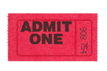 red admit one ticket with red line and number isolated on white background Stock Photo - 12379999