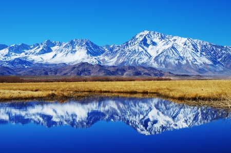 sierra snow: mountain reflection of Mount Tom in the Owens valley