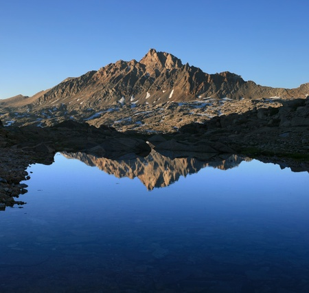 reflection of Mount Humphreys in a small pool in the Sierra Nevada Mountains Stock Photo - 12380008