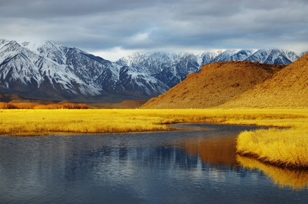 overcast winter mountain valley landscape with golden meadow from the Owens Valley