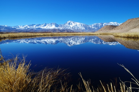 Sierra Mountain reflection in an oxbow of the Owens River with foreground grasses Stok Fotoğraf