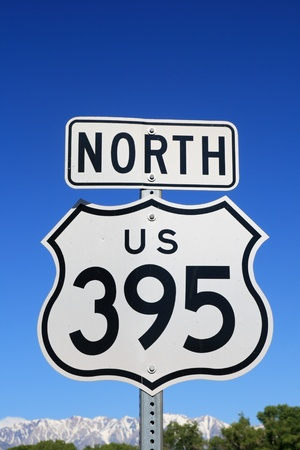 north US 395 sign with blue sky and mountains in the background Stock Photo - 12712025