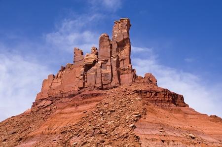 talus: North Six Shooter desert sandstone tower in Utah Stock Photo