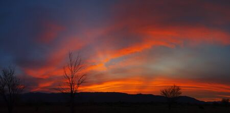owens valley: panorama of a colorful sunrise in the Owens Valley