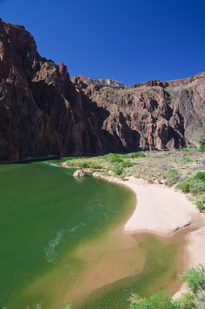 beach on the Colorado River in the bottom of the Grand Canyon near Phantom Ranch Stock Photo - 13369086