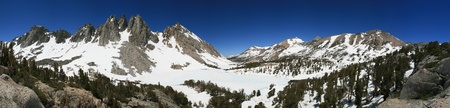 Sierra mountain panorama of Kearsarge and Bullfrog Lakes basin and kearsarge pass