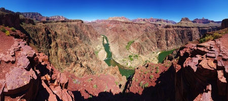 overlook: panorama of the Grand Canyon from an overlook on the South Kaibab trail on the Inner Gorge with Phantom Ranch and the Colorado River