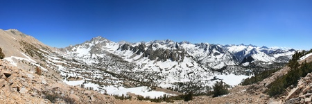 Panorama of Sierra Nevada Mountains including University Peak Kearsarge Pass and Kearsarge Pinnacles Stock Photo - 13551520