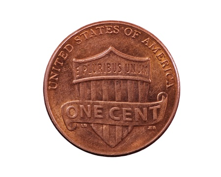 United States penny coin reverse with union shield design photo