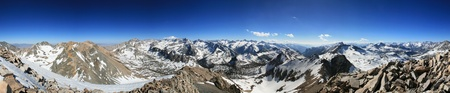 basin mountain: panorama from the summit of Mount Rixford in the Sierra Nevada Mountains of California