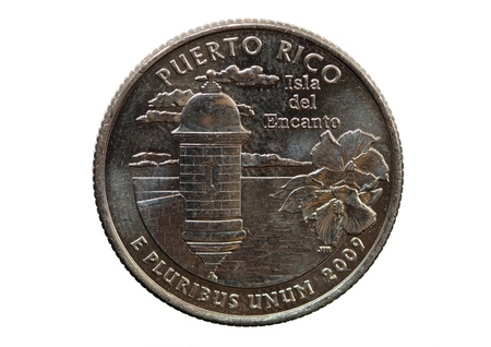 25 cents: Puerto Rico United States quarter coin isolated on white background Stock Photo