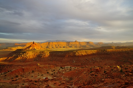 desert landscape near canyonlands utah with dramatic evening lighting