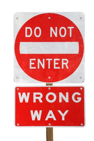 do not enter wrong way red and white road sign isolated on white background Banco de Imagens