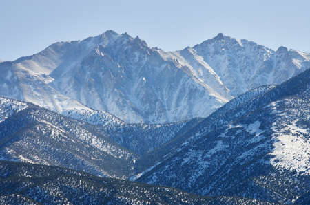 montgomery: Boundary Peak at 13140 ft is the highest point in Nevada with some snow and Mount Montgomery Stock Photo