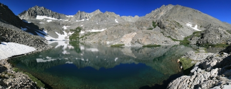 sierras: Panorama of Birch Lake and Ed Lane Peak and The Thumb mountain in the Sierra Nevada Mountains of California Stock Photo
