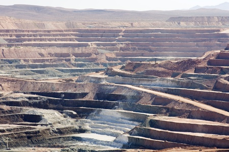 open cast mine: active open pit desert strip mine mining for borax Stock Photo