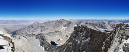 panorama from the summit of Mount Whitney including the Owen's Valley Lone Pine Keeler Needle and Day Needle Stock Photo - 14459421