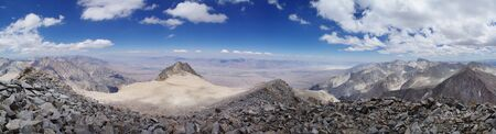 john muir wilderness: panorama from the summit of Mount Williamson looking over the Owens River Valley Stock Photo