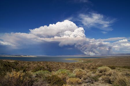 distant: smoke and a cloud rises above a distant forest fire near Mono Lake Stock Photo