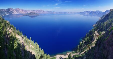 crater lake: Panorama of Crater Lake National Park Stock Photo