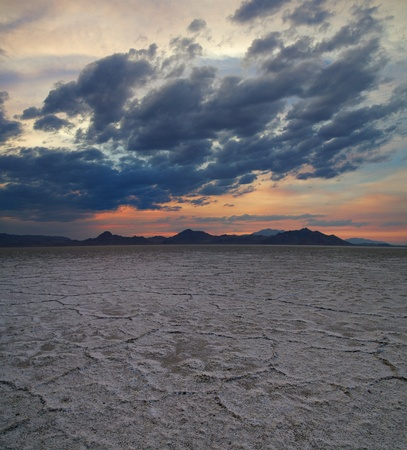 Bonneville salt flats near sunset with dramatic clouds Stock Photo - 15716951