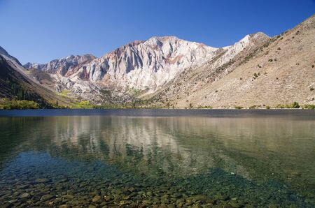Laurel Mountain reflected in Convict Lake in the Sierra Nevada Stock Photo - 15765006