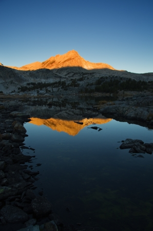 reflection of North Mountain in Greenstone Lake in the Sierra Nevada Mountains Stok Fotoğraf