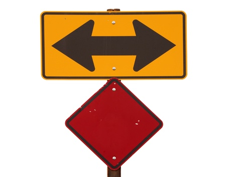 way out: yellow and black two way arrow road sign with red warning marker