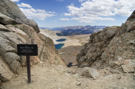 13200 foot Forester Pass entering Sequoia National Park on the John Muir Trail and the Pacific Crest Trail Stock Photo - 16766124