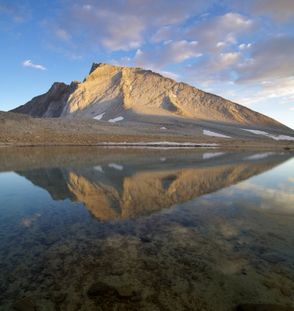 reflection of Mount Tyndall in a clear lake with evening lighting Stock Photo - 16766120