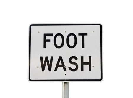 large reflective road sign style foot wash sign isolated on white Stock Photo - 16841782