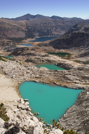 saddlebag: glacial lakes below Mount Conness with milky blue glacial water
