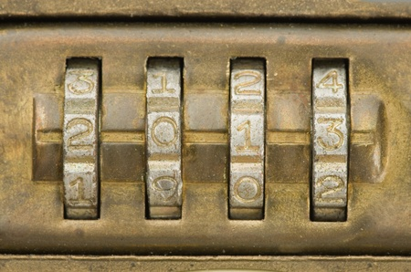 twenty thirteen: 2013 numbers set on a brass combination lock