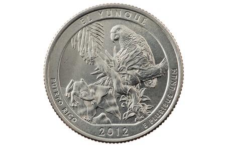 unum: El Yunque Puerto Rico quarter coin isolated on white background