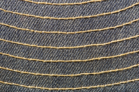 blue cloth with yellow stitching macro background texture Stock Photo - 17061686