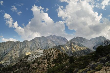 john muir wilderness: Mount Williamson mountain landscape from Shepherd pass trail Stock Photo