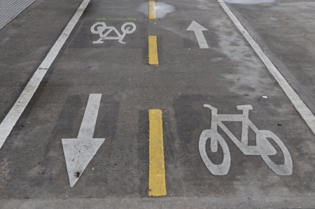 horizontal image of two way bicycle lanes Stock Photo - 19586646