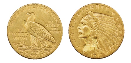 gold eagle two and a half dollar 1913 US coin with indian head isolated on white background