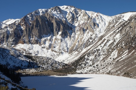 Laurel Mountain in the winter above a frozen Convict Lake Stock Photo - 19586717
