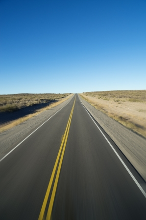 straight open road to the horizon with motion blur  Stock Photo