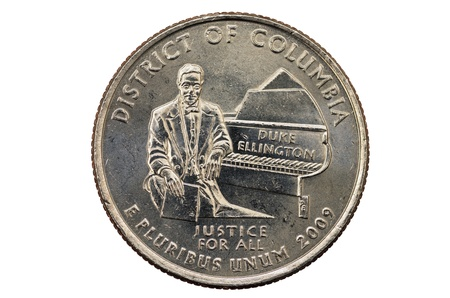 justice for all: District of Columbia or DC commemorative quarter coin with Duke Ellington on white background Stock Photo